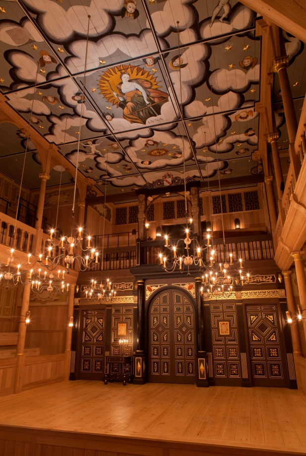 Sam Wanamaker Playhouse. The ceiling depicts the goddess Luna surrounded by chains of clouds and cherubs. Photo by Pete Le May, supplied by Shakespeare's Globe.